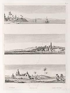Historic Pictoric 1829 Print - 1. Vue de Benisuef; 2. Vue de Siut ou Osiot [AsyA»t]; 3. Sepultures arabes A Zaoye. - Vintage Wall Art - 16in x 20in