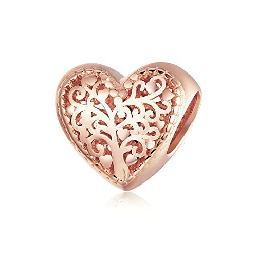 SANHUA Colgante De Oro Rosa En Forma De Corazón Hueco S925 Colgante De Árbol De La Vida De Plata Esterlina Adecuado para Joyería De Pulsera Original