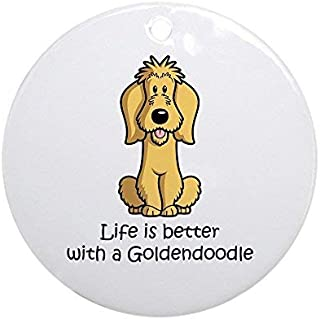 Yilooom Goldendoodle Ceramic Ornament 3 inch Round Holiday Christmas Ornament