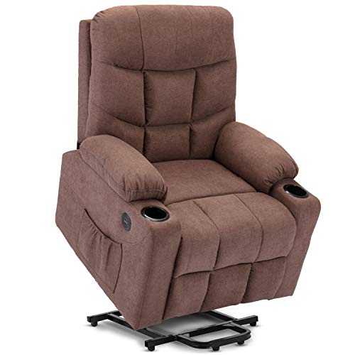 DEVAISE Power Lift Massage Recliner Chair with OKIN Motor Heat and Vibration for Elderly, Elastron Fabric Living Room Sofa Chair with Remote Control, USB Charge Port and Cup Holders, Brown
