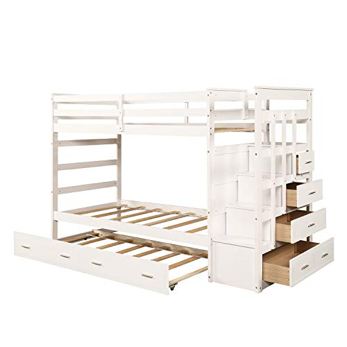 Trundle Bunk Bed Twin Over Twin Trundle Bunk Bed Frame With Staircase And Built In Storage Drawers For Kids And Teenagers White Buy Online In Antigua And Barbuda At Desertcart