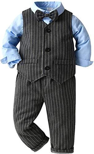FAIRYRAIN Kinder Jungen Gentleman 3tlg Langarm Hemd+Hose+ Weste+Fliege Krawatte Anzug Taufe Hochzeit Sakkos Bekleidungsset Outfits 90