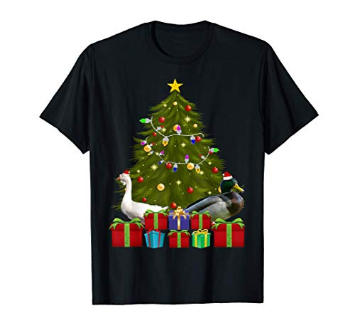 Santa Duck Christmas Tree With Light Funny Xmas Duck T-Shirt