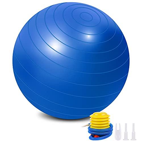 Flintronic Pelota de Yoga, Fitness, Pilates, Embarazo y Sentarse, Fitball, Equilibrio, Entrenamiento, 55cm 65cm, Hinchador Incluido, Azul