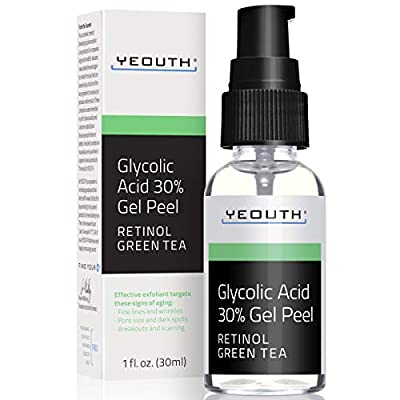Glycolic Acid Peel 30% Professional Chemical Face Peel with Retinol, Green Tea Extract, Acne Scars, Collagen Boost, Wrinkles, Fine Lines, Sun - Age Spots, Anti Aging, Acne - 1 fl oz Yeouth Guaranteed