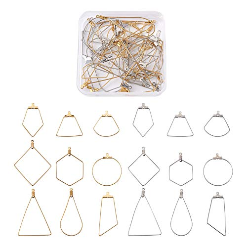 Cheriswelry 36pcs Stainless Steel Hoop Earring Findings 9 Styles Geometry Open Beading Earring Hoops Earring Components Wine Glass Charm for Jewellery Making(2 Colors)