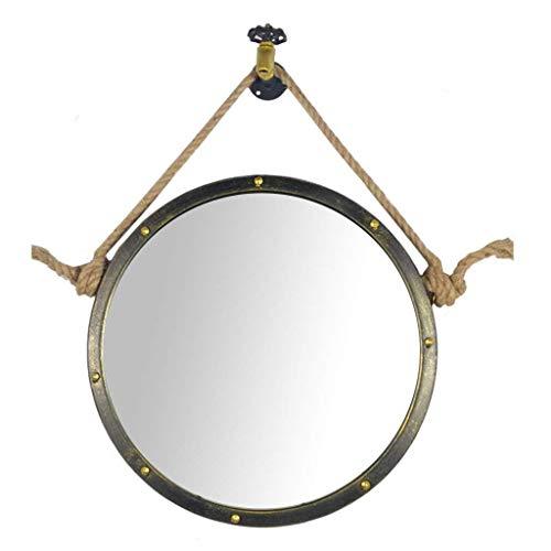 ZHOU.D.1 Vintage Espejos de Pared Redondo Estilo Industrial de Maquillaje Espejo con...