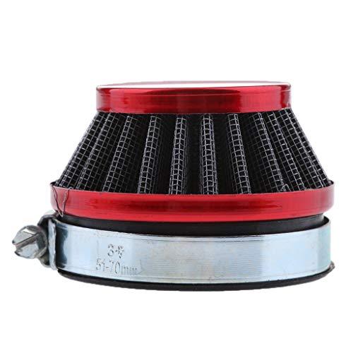 IPOTCH Filtro de Aire Rojo de 58 Mm para Motocicleta, Filtro de Entrada, Cárter, Filtro de Aire Frío Automático para Motor Pequeño 49cc-80cc, 2 Tiempos