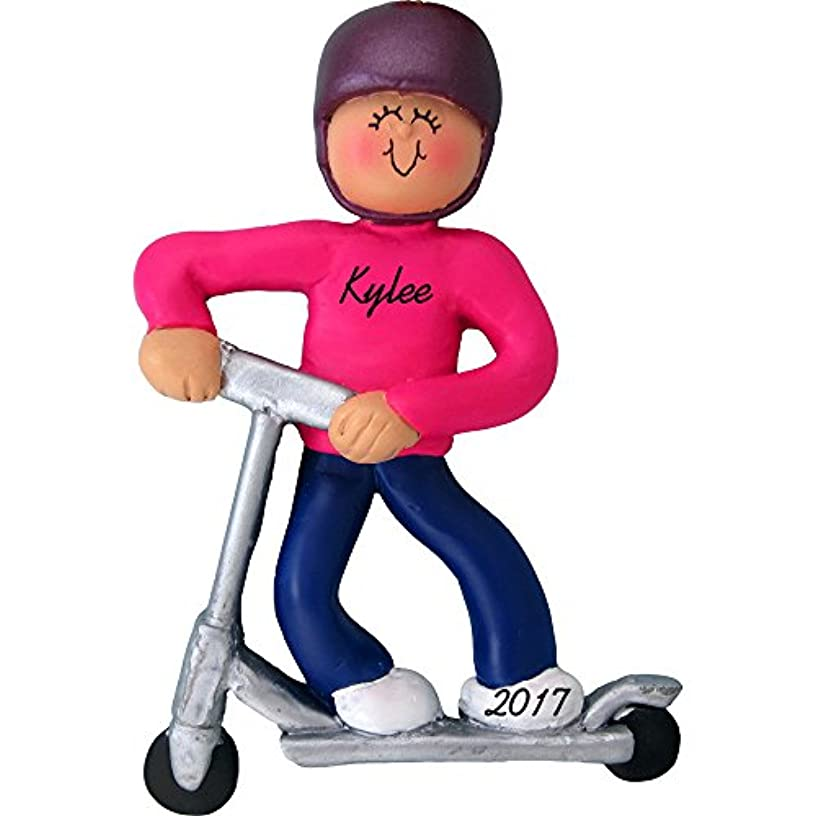 Riding Kick Scooter Personalized Christmas Ornament - Girl - Handpainted Resin - 4