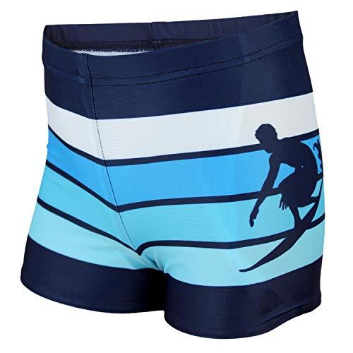 Aquarti Jungen Badehose Gestreift mit Motiven, Farbe: Dunkelblau/Blau, Größe: 146