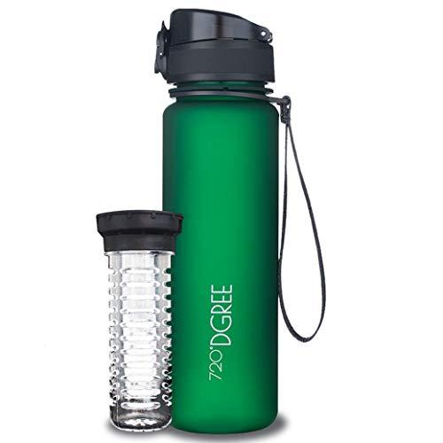 """720°DGREE Bottiglia d'Acqua """"uberBottle"""" - 500ml softTouch +Infusore, Tritan Senza-BPA, Prova di Perdite - Il Borraccia..."""