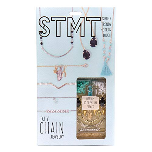 STMT DIY Chain Jewelry by Horizon Group USA, Design Upto 10Piece of Vsco Girl Personalized Jewelry, Includes Trendy Charms, Chains, Tassels, Gemstones, Beads & More, Gold, Blue, Black & Silver