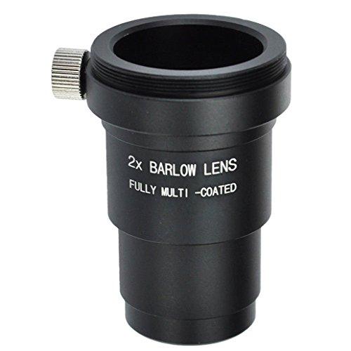 Gosky 1. 25 Zoll (31,7 mm) 2X Vollmetallgehäuse Barlowlinse mit T/T2 (M42 x 0,75 mm) Außengewinde für Standard-Teleskop-Okular Astronomi- Akzeptieren 1,25 Zoll Filter.
