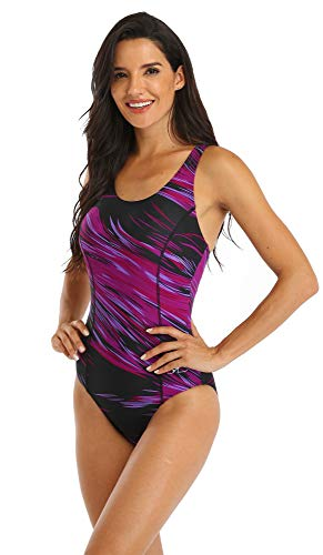 Adoretex Women's Athletic One Piece Swimsuit Sports Padded Swimwear (FS013) - Purple - 18