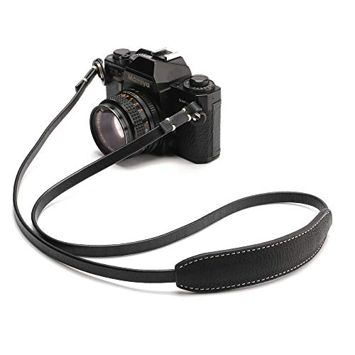 CANPIS CP005 Leather Camera Neck Shoulder Strap with Movable Pad for Universal Camera Sony Leica Canon Nikon Fuji Olympus Panasonic etc. (Color: Black, Length 108cm)