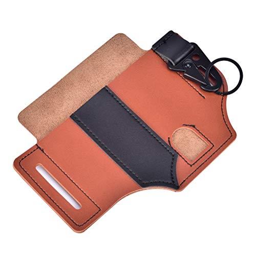 EDC Leather Sheath - Leather Tool Sheath 3 Pockets Multitools Holder Holster EDC Essentials Organizer Belt Pouch