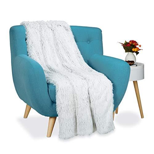 Relaxdays Felldecke Kunstfell, Kuscheldecke für Couch, Bett, flauschige XXL Deko Tagesdecke, Größe 150x200 cm, weiß/grau