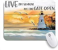 PATINISAマウスパッド 灯台航海海波岩素朴な木板の海辺の海岸 ゲーミング オフィス最適 高級感 おしゃれ 防水 耐久性が良い 滑り止めゴム底 ゲーミングなど適用 マウス 用ノートブックコンピュータマウスマット