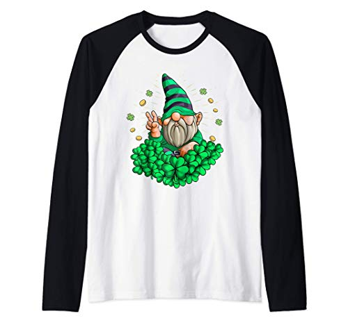 Gnomo Hippie Leprechaun Trébol Patty Day Gnomo San Patricio Camiseta Manga Raglan