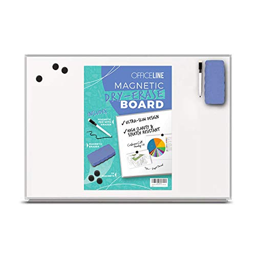 Officeline Ultra-Slim, Lightweight Magnetic Dry Erase Board & Accessories (Includes Whiteboard Pen & Pen Tray, 3 x Magnets & Eraser)