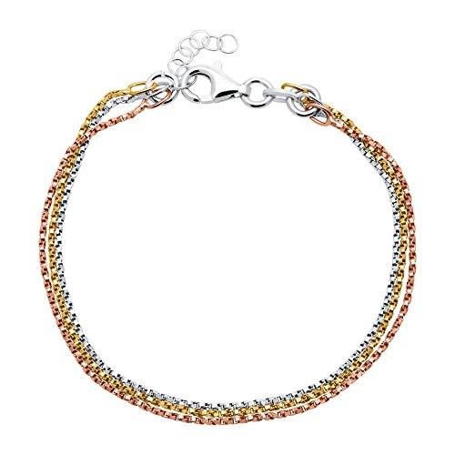 Unique Tricolores 925er Silber Armband