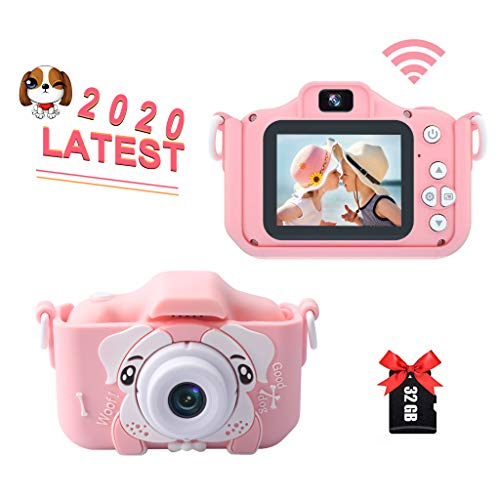 Kids Digital Camera, 32MP HD 1080P IPS Screen Anti-Drop Camcorders Rechargeable Video Camera with WiFi 32GB SD Card, Gifts for Boys/Girls Age 3-10, Outdoor Toys with Shockproof Soft Silicone Case
