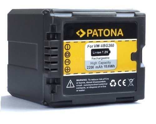 Patona Qualitätsakku für Panasonic VW VBG260 E K mit Infochip - Intelligentes Akkusystem - 100% kompatibel neueste Generation