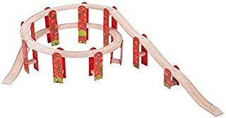 Bigjigs Rail Wooden Red High Level Track Expansion Pack - Suitable for 3+ Years by Bigjigs Rail