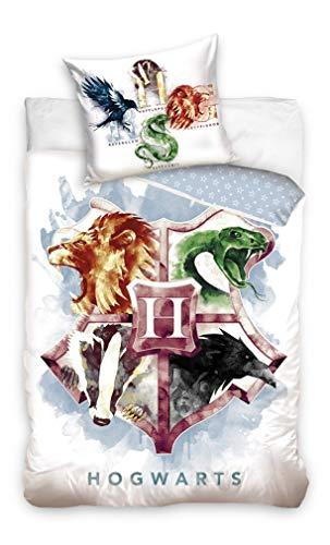 Carbotex – HP195017 – Harry Potter – Juego de cama Hogwarts escudo 4 casas animales funda nórdica y funda de almohada original algodón – Multicolor – 160 x 200 cm y funda de almohada 70 x 80 cm