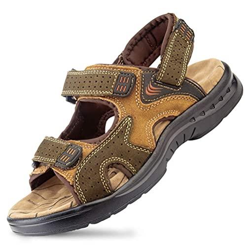 YANGHAO- Heren sandalen flip flops open teen mode casual sandalen lederen zomer comfortabel schoenen retro naaien klassiekers buiten wandelen wandelen strand sandalen HELANZDZAHUODIAN-7