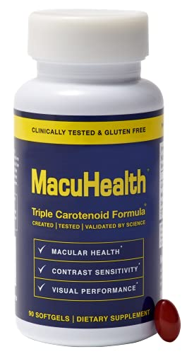 MacuHealth Triple Carotenoid Formula for Adults - Eye Vitamins Lutein and Zeaxanthin  Meso-Zeaxanthin for AMD and Dry Eyes - Complete Essentials Vitamin for Eyes (90 Softgels  3 Month Supply)