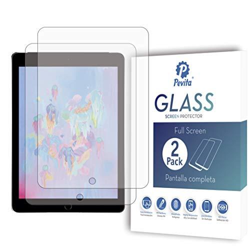 Pevita Protector de Pantalla Compatible iPad (9,7 Pulgadas, 2018/2017 Modelo, 6ª / 5ª Generación) [2 Packs] Cristal Templado para iPad Air 1, iPad Air 2, iPad Pro 9,7 Pulgadas