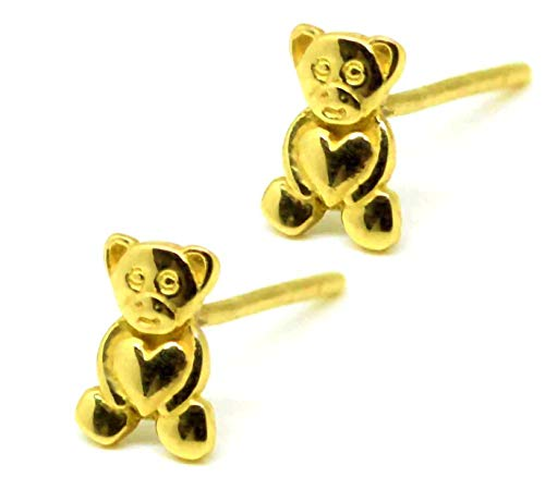 14k 585 Gold Filled Teddy Bear Stud Polished Earrings