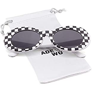 ADEWU Oval Sunglasses Retro Kurt Cobain Clout Goggles with Round Lens for Women Men