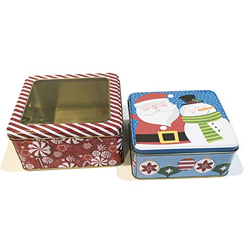Christmas Cookie Tins with Window Lids for Gift Giving Empty Candy Snack Pastry Treat Swap Box Cerebrate a Holiday Set of 2 Goodies Party Favors Metal Containers Santa & Snowman