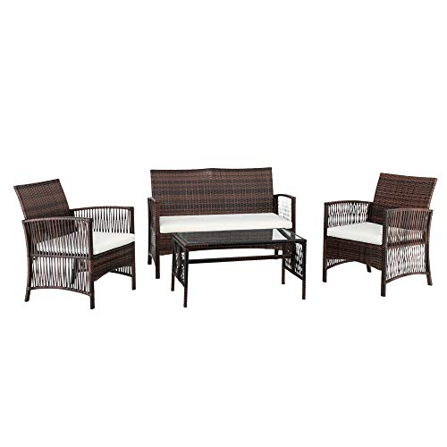 Forart Outdoor Patio Garden Faux Wicker Rattan Chair Conversation Set with Cushion Wicker Furniture Set Outdoor Rattan Conversation Sofa Armchair and Table Hole Chair 4Pcs (Ship from USA)