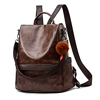 Women Backpack Purse PU Leather Anti-theft Casual Shoulder Bag Fashion Ladies Satchel Bags Brown