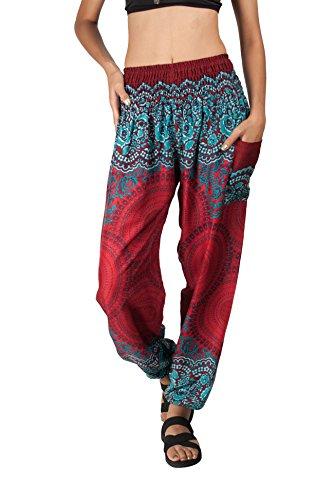 Joob Joob Women's Comfy Bohemian Tapered Elephant Harem Loose Yoga Travel Pajama Lounge Pants