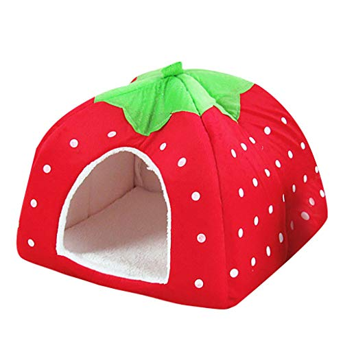 LEEDY Dog House Pet dog Wave Point House Winter Warm Cat House Strawberry house Pet supplies for Deep Sleeping
