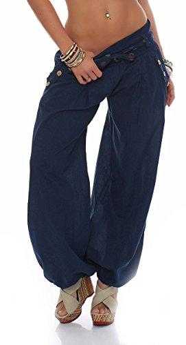 Malito Damen Pumphose in Unifarben | leichte Stoffhose | super Freizeithose für den Strand | Haremshose - lässig 3417 (dunkelblau)