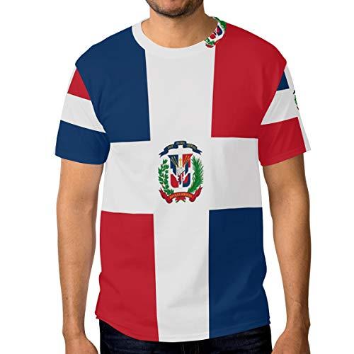 FANTAZIO - Camiseta de manga corta para hombre, diseño de bandera de República Dominicana
