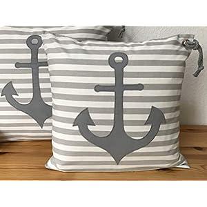 1 Maritime Kissenhülle, Kissenbezug, Landhausstil Kissen * Anker grau * grau/weiß gestreift.