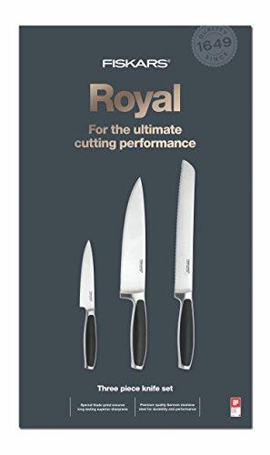 Fiskars 1016464 Royal Set de 3 Couteaux Acier Inoxydable Noir 39 x 20,8 x 3,5 cm