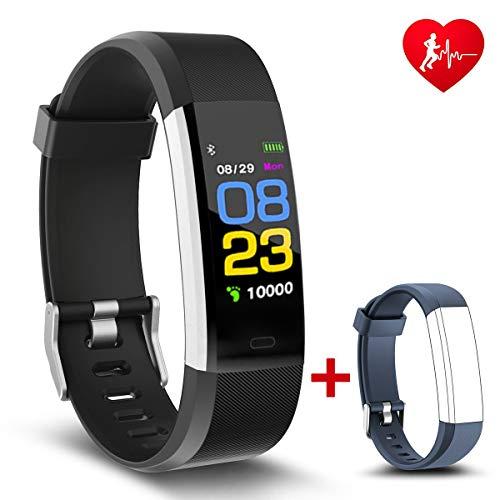 NAKOSITE RAM2433 Fitness armband tracker sportuhren Smartwatch armbanduhr damen herren kinder Sport uhr mit Schrittzähler, HERZFREQUENZ, Kalorien, Schlaf, Distanz,SMS,Ersatz Lila Band