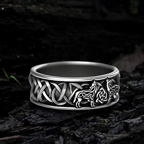 YABEME Norse Viking Celtic Knot Fenris-Wolf Ring, Vintage Stainless Steel Nordic Talisman Amulet Finger Jewelry Gift, Handcrafted Hypoallergenic Never Fade,8