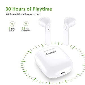 Wireless Earbuds, Letsfit Bluetooth 5.0 Headphones HD Stereo Sound Earbuds, in-Ear Headset 30H Playtime with Charging Case, Bluetooth Earbuds Built-in Mic for Running Gym Workout