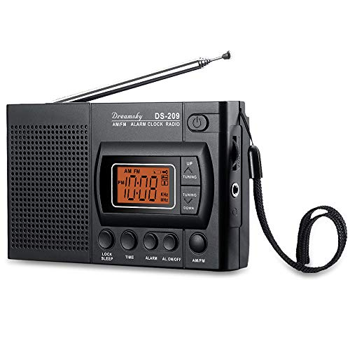 DreamSky Handheld AM FM Radios with Headphone Jack, Portable FM Radio with Transistor Telescopic Long Antenna, Battery Operated Radio for Walking Travelling Emergency Indoor Outdoor