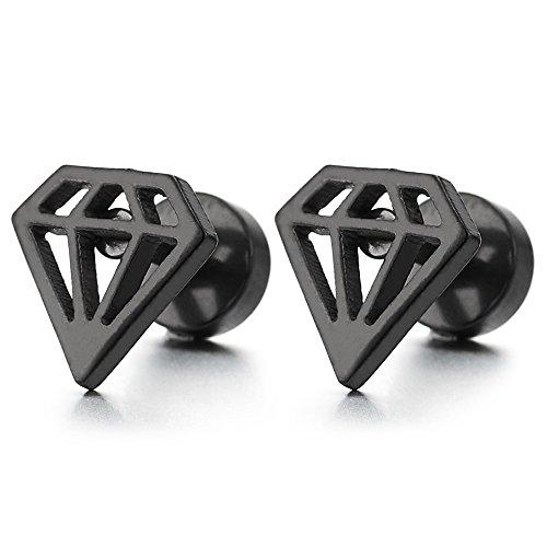 Negro Forma de Diamante, Pendientes de Hombres Mujer, Acero Inoxidable, Cierre Tornillo, 2 Piezas