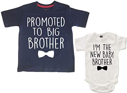 """Edward Sinclair Conjunto de camiseta y body para bebé con texto en inglés """"Promoted to Big Brother"""" y """"I"""
