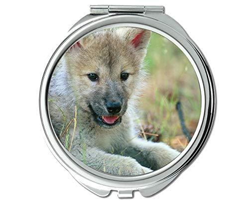 Yanteng Spiegel, Taschenspiegel, Animal Wolf hoher Taschenspiegel, 1 X 2X Vergrößerung